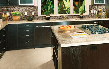 kitchen countertops and tile flooring